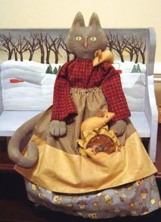 Primitive Folk Art Doll Pattern holiday cat with by Raggedyrhondas, $11.00