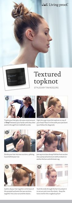Learn how to get the Textured Topknot courtesy of Living Proof #howto #getthelook #hairstyles #hair #livingproof #Sephora
