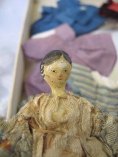 Layaway Available Fabulous Circa 1805-1820 Penny Wooden Doll with Trousseau