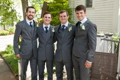 Groomsmen in our Charcoal Grey Suit looking sharp!  Find this look at: https://theblacktux.com/collection/suits/charcoal-grey-suit