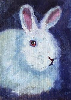Bunny Rabbit Oil Painting Original on Canvas by smallimpressions,