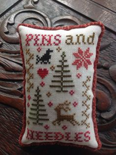 Hand stitched cross stitched  Pins And Needles by TheOldNeedleShop