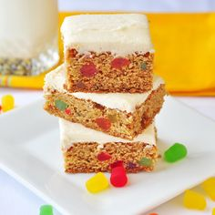 Time to plan your Holiday baking! Here's the first of 30 new cookie recipes in November : Easy Gumdrop Squares - tender soft cookie squares with chewy candy bursts and creamy vanilla frosting, A crowd-pleaser with kids of all ages. These also freeze exceptionally well. Better make a double batch!