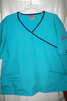 Dickies sz 2XL teal and navy bule uniform scrub pocket on the sleeve #Dickies