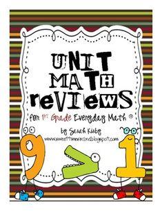 Unit Math Reviews - 1st Grade Everyday Math