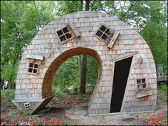An inhabitable twisted house in the Indianapolis Arts Center  The Twisted House in the Indianapolis Arts Center in Indiana was created by John McNaughton of Evansville. It is made of cedar. Photo by Serge Melki