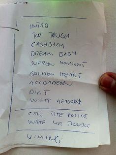 The set list.x