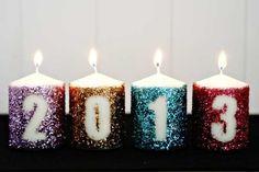 Glitter New Years Candles4 White Candles  Martha Stewart Tinsel Glitter    Mod Podge  Sponge Brush  Adhesive Vinyl