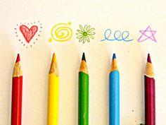 Rainbow color pencils.
