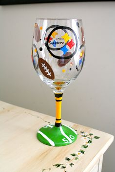 HandPainted Steelers Wine Glass by SarahMammay on Etsy, $25.00