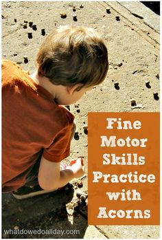 Seasonal Activity of the Week: Fine Motor Skills Practice With Acorns  - Pinned by @PediaStaff – Please Visit  ht.ly/63sNt for all our pediatric therapy pins