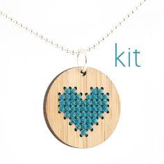 DIY Cross Stitch Necklace Kit Bamboo Heart by RedGateStitchery, $18.00