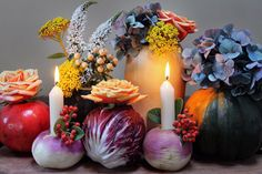Turn colorful veggies into candle holders and vases. Would be fun to do a red/green mix for Christmas dinner!