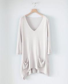 Silk Cashmere Dipped Hem Sweater