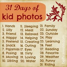 Use this 31-day guide to take photos of your kids. After the 31 days is over you'll have a great set of pictures for a cute photo book! Great gift idea for grandparents!