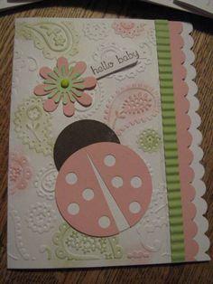 ladybug card, baby cards, babi invit, ladybug paper fabric or felt, girl card