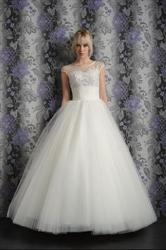 Tulle Jewel Ball Gown Floor Length Natural Waist With Flowers Bridal Gown