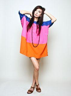 Uzi NYC Pink Block Stripe Dress style, dresses, stripes, pink block