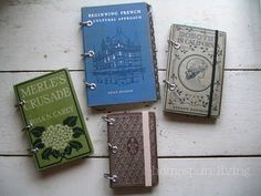 DIY vintage book into planner/journal - definitely going on my 'must try' list! These are fabulous!