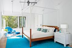 Blue + White bedroom in a Modern Hamptons Home by Leroy Street Studio: Architectural Digest
