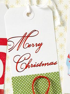featuring a cursive font on a plain gift tag. Glue on decorative ribbon or paper