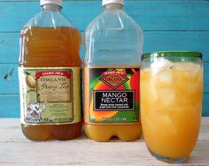 Trader Joe's Green Tea Lemonade and Mango Nectar - Make Mango Green Tea Lemonade:  Fill a glass with ice cubes Add 1/4 cup Mango Nectar Add 1 cup Green Tea Lemonade Mix and serve