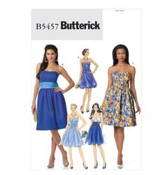 Butterick 5457 Misses' Dress Prom Bridesmaid Evening Size: AA (6-12)  Availability: OOP Condition: Uncut, Factory Folded Swapper: Konnie Kapow Will swap for: patterns, fabric,trims/ notions, buttons, books and more...