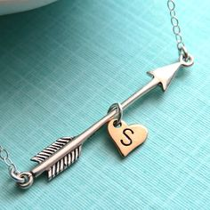 Arrow and Heart with Initial Necklace in Sterling Silver, Arrow Charm, Arrow Jewelry, Personalized, Katniss Necklace, Hand Stamped on Etsy, $44.00 arrow jewelri, arrows, accessori, initials, sterling silver, arrow initi, necklaces, initi necklac, initial necklace silver