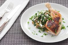 Pan-Seared Chicken with Dried Cherry & Pistachio Quinoa - skip the feta cheese if you're in the 21st day phase  :)