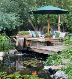 garden pond and deck