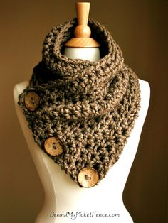 New BOSTON HARBOR SCARF  - Warm, soft & stylish scarf with 3 large coconut buttons - Other colors available