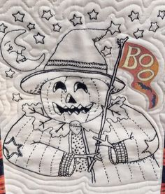 "Kathy Schmitz BOM embrodery, ""Mr. Boo"" for Halloween, seen at Stitchin' by the Lake"