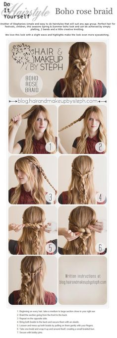 1) take hair on both sides of head an braid it.  2) pull hair back and tie together with a clear elastic.  3) pull braids apart slowly and gently. Don't pull too much! 4) wrap one braid around itself and looping around the other braid. (Get creative. Try several different buns/knots to see what you like best) 5) bobby pin the brain bun in plae. Creating an X with bobby pins makes it hold better!