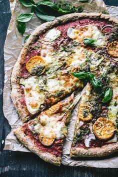 No-Knead Sweet Potato, Pesto, Red Onion and Zucchini Ribbon Pizza