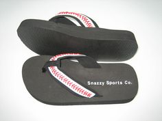 Leather Baseball Flip Flops by SnazzySportsCo on Etsy, $24.99