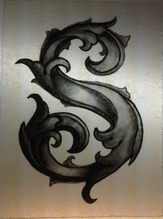 """Stained glass: leaf scripted letter """"S"""" on Etsy, $40.00"""