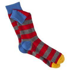 Mossimo Supply Co. Men's 1pk Fashion Socks - Red/Grey Stripe
