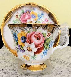 Vintage floral teacup and saucer with gold trim.  ROYAL ALBERT ENGLISH BONE CHINA awsom teapot, teapot cup, vintage teacups, tea time, bones, english bone, vintag teacup, bone china, floral teacup
