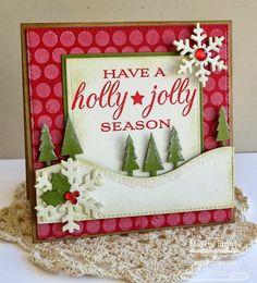 Grand Holiday Greetings; Large Scale Backgrounds; Tree Lines Die-namics; Snow Drifts Die-namics; Let It Snowflake Die-namics; Square STAX Set 1 Die-namics; Square STAX Set 2 Die-namics - Melody Rupple