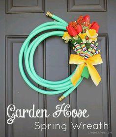 Cute garden hose wreath