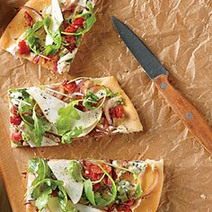 Pear, Blue Cheese, and Bacon Focaccia-Style Pizza   CookingLight.com #myplate, #protein, #dairy, #veggies, #fruit