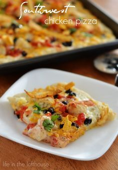 Southwest Chicken Pizza - Ranch dressing with seasoned chicken, black beans, tortilla strips and Colby-Jack cheese.  YUM!!