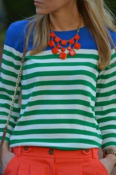 COLORBLOCKING & STRIPES Tee J Crew necklace Stella & Dot