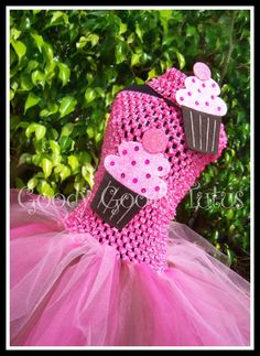 CHOCOLATE FROSTED CUPCAKE Pink Fluffy Tutu Dress