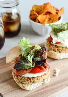 Roasted Red Pepper Quinoa + White Bean Burgers I howsweeteats.com