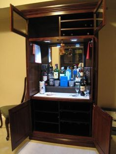 Repurposed TV armoire, into liquor cabinet