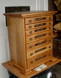 Oak Artist Storage Spool Cabinet Chest 7 Drawers by varmeck. , via Etsy.