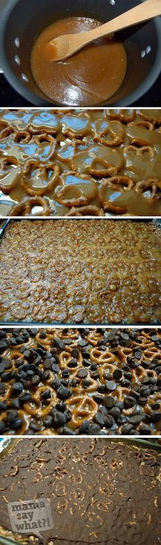 Salted Caramel Pretzel Bark (uses choc chips instead of tempering chocolate)