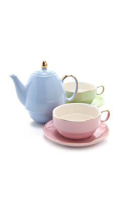 pastel tea for two set