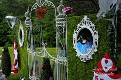 Love this idea for a backdrop at an Alice In Wonderland Party found via Kara's Party Ideas | Kara'sPartyIdeas.com #alice #in #wonderland #party #supplies #ideas
